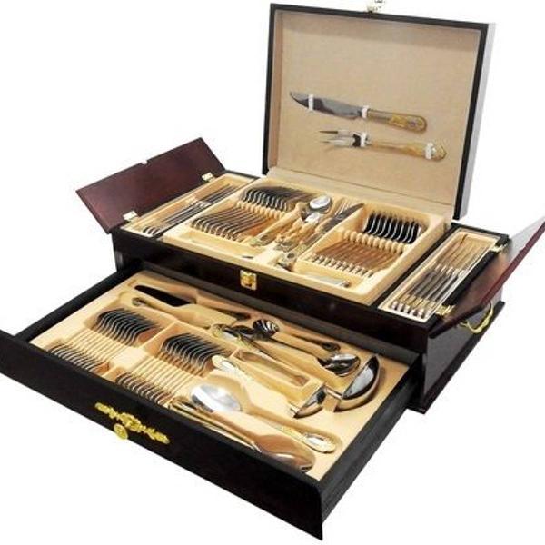 Faqueiro madeira preto aço inox detalhes dourados 86 peças