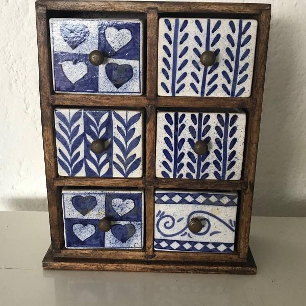 Gaveteiro de mesa ou parede blue