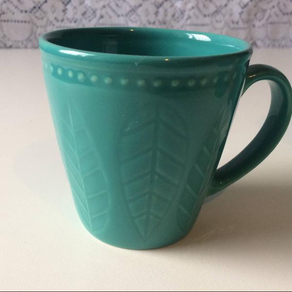 Jogo 4 xícaras café chá verde folha