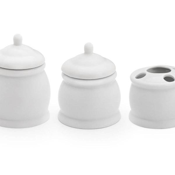 Kit banheiro porcelana com porta escova e 2 potes classic