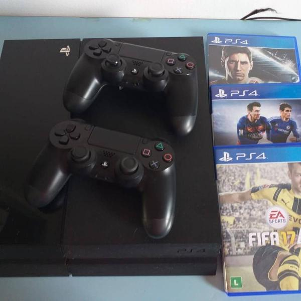 Ps4 playstation 4 slim 1tb 3 jogos + psn 2 controles