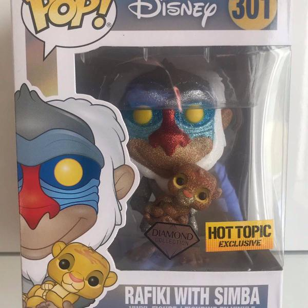 Rafiki with simba diamond rei leão disney funko pop! #301