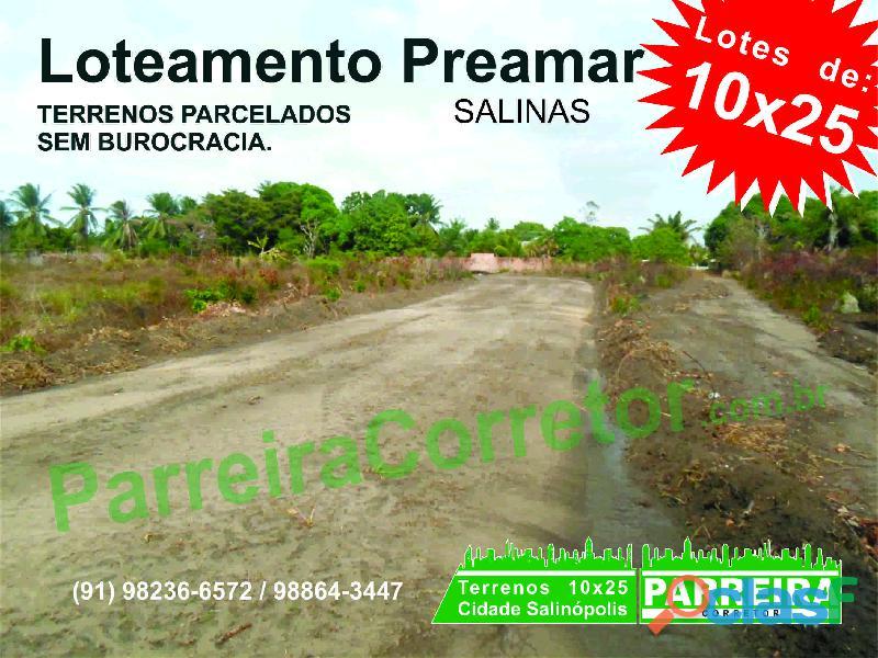 Terrenos e lotes em Salinopolis, PA, Loteamento com terrenos de 10x25 1