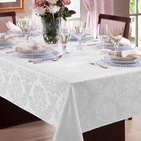 Toalha mesa 4 lugares jacquard branco