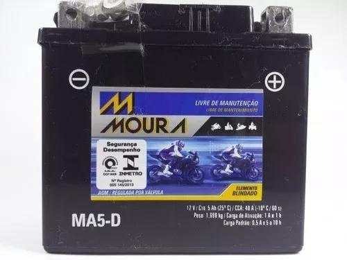 Bateria moura biz 125 flex 2011 a 2015 ma5-d 5 amperes