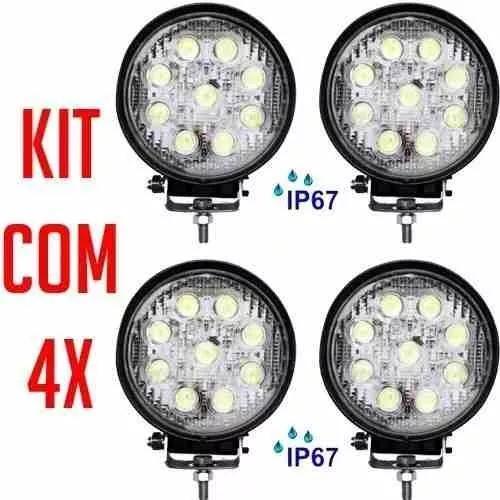 Kit 4x Farol De Milha Led Redondo 27w 12v/24v Carro Jeep