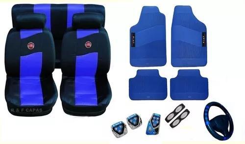 Kits azul capas de carro pedaleira tapetes uno siena palio