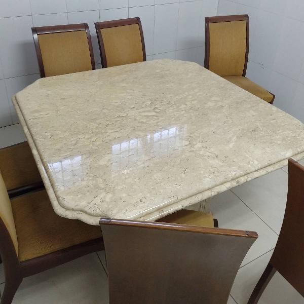 Mesa de mármore quadrada p 8 lugares