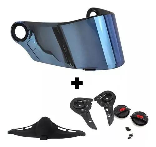Viseira capacete ls2 ff358 azul ir c/ reparo mais narigueira