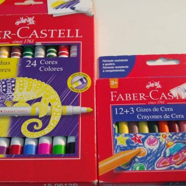 Canetinhas bicolor faber-castell + giz de cara 12 cores