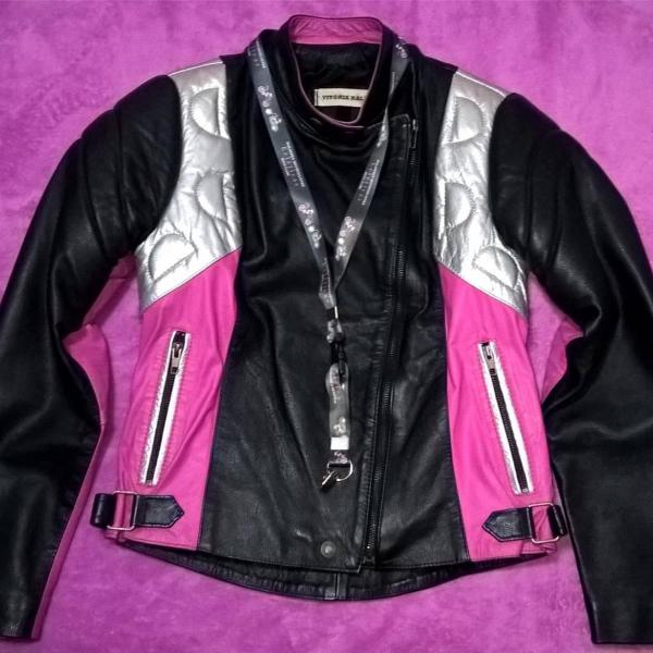 Jaqueta feminina de couro legítimo para motociclista