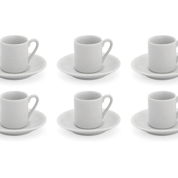 Jogo de xícara de café porcelana com pires 55ml 6 unidades