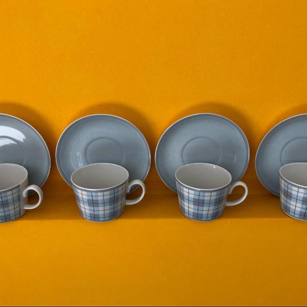 Jogo de xícara de chá xadrez novo