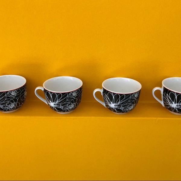 Jogo de xícaras de chá estampado novo