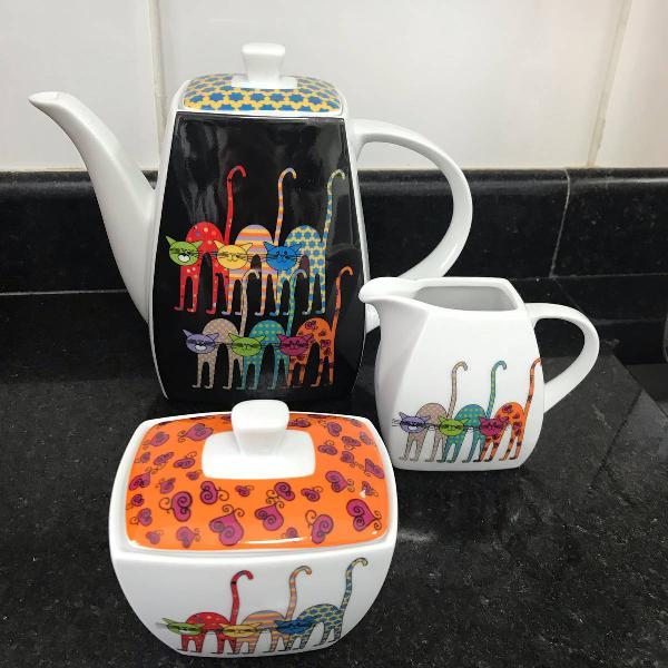Kit de chá em porcelana