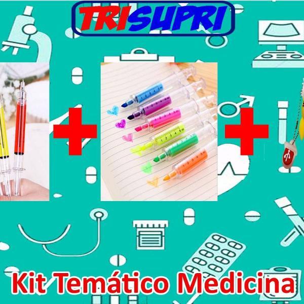 Kit enfermeira enfermagem canetas marca texto e pen drive
