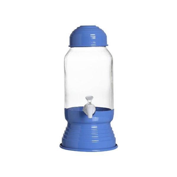 Suqueira vidro e alumínio com torneira 3 litros 35 cm azul