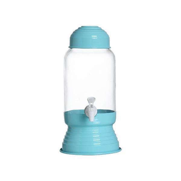 Suqueira vidro e alumínio com torneira 3 litros 35cm azul