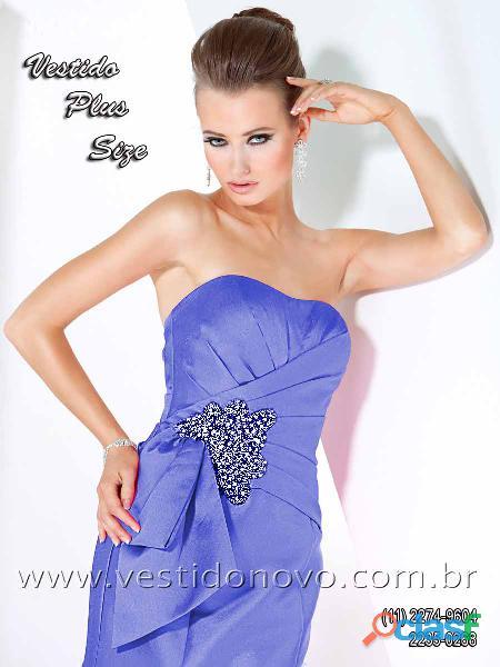 Vestido plus size mãe de noivo em cetim importado em azul royal