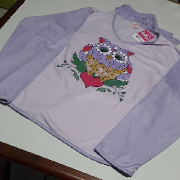 Pijama m / algodão / lilás / coruja / novo