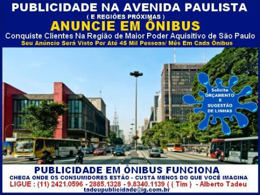Publicidade na avenida paulista - anuncie em ônibus - custa