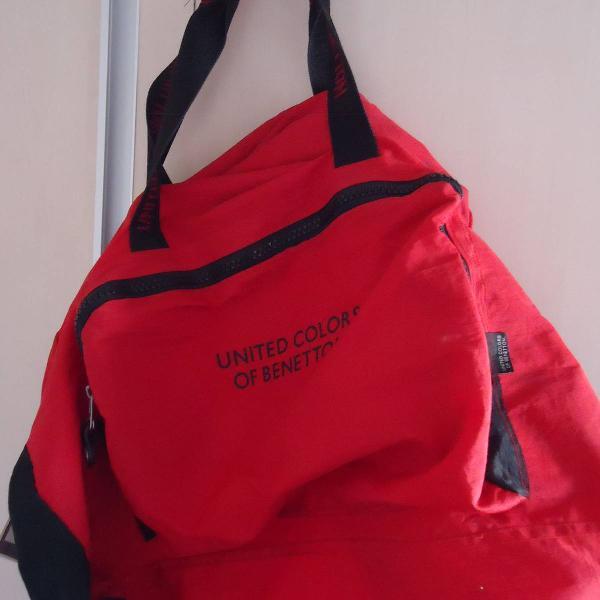 Bolsa mala de viagem estilo lona benetton vermelha
