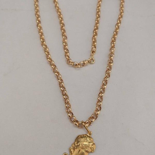 Cordão de ouro 18 k com pingente da madona