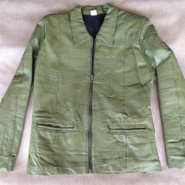 Jaqueta de couro verde musgo