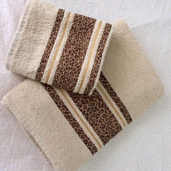 Jogo de toalha feminino 2 peças animal print