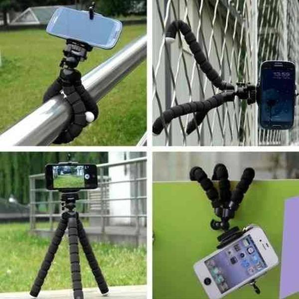 Mini tripé polvo flexível p/ câmera celular smartphone