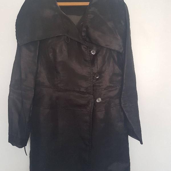 Trench coat de organza preta lilla ka
