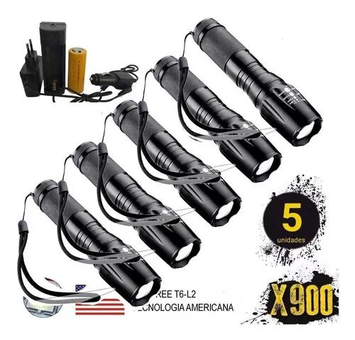 5 lanternas tática militar x900 recarregável police zoom