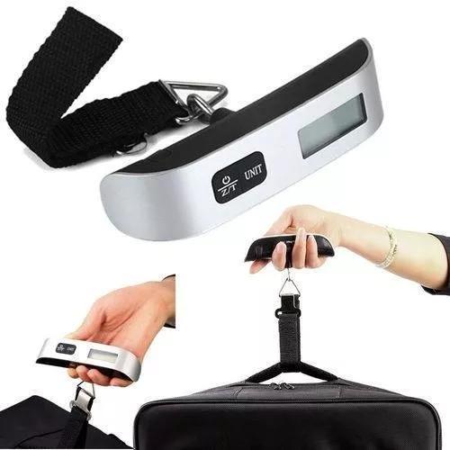 Balança digital portátil c/ gancho p/ pesar mala viag