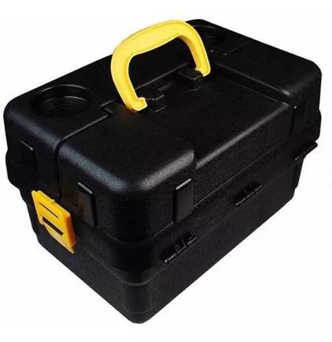 Caixa pesca 6 bandejas articuladas hi + enrolador (preta)