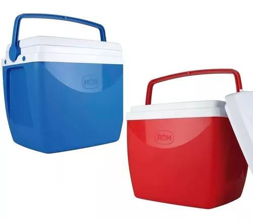 Caixa térmica c/ alça 18 litros azul ou vermelho cooler