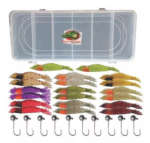 Camarões artificiais kit 20 pç camarão + 10 jigs + 1