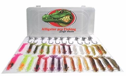 Camarões artificiais kit peva 30 camarões+10 jigs + estojo