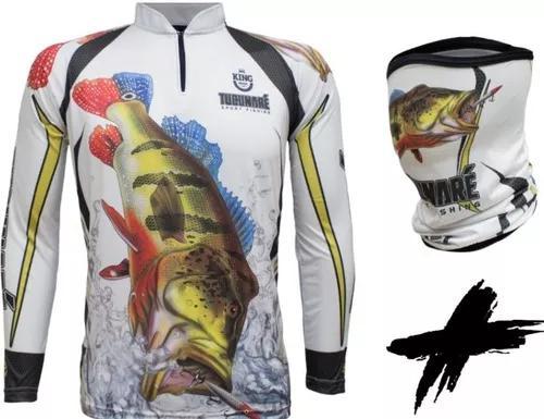 Camisa + bandana king modelo novo tucunaré proteção uv30+
