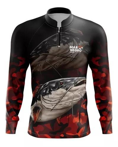 Camiseta pesca camisa mar negro proteção solar blusa dry