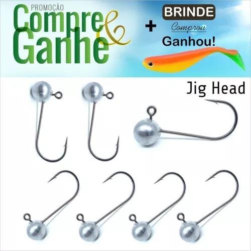Jig head para pesca kit com 15 peças anzol 1/0-2/0-3/0 e