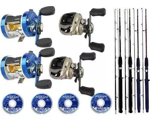Kit 2 carretilhas perfil alto 2 perfil baixo 4 varas e linha
