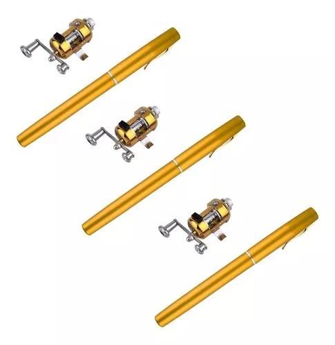 Kit 3 mini vara de pesca carretilha caneta