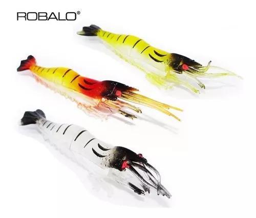 Kit c/ 12 iscas artificiais camarão silicone realístico