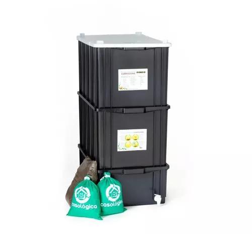 Kit composteira doméstica / minhocário g + minhocas +