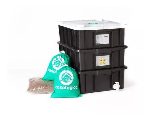 Kit composteira doméstica / minhocário p + minhocas +