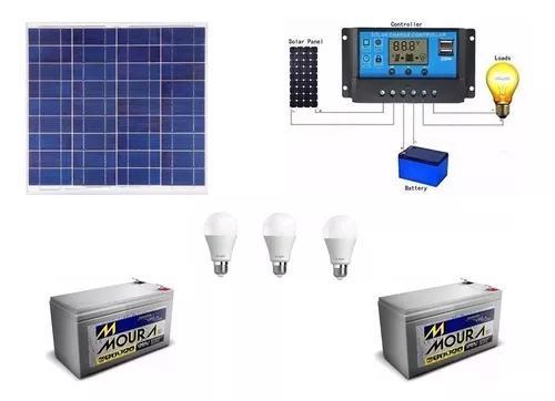 Kit de iluminação painel solar 55w + bateria +3 lampadas