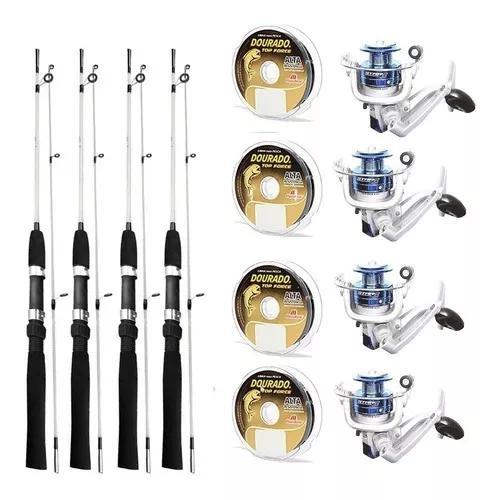 Kit pesca 12 peças 4 molinetes star 3 + 4 varas + 4 linhas
