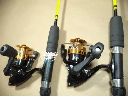Kit pesca 2 molinetes 2 varas com acessórios - promoção