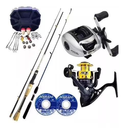 Kit pesca completo carretilha molinete vara linha c/ estojo