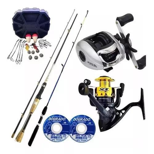 Kit pesca completo carretilha molinete vara linha e estojo